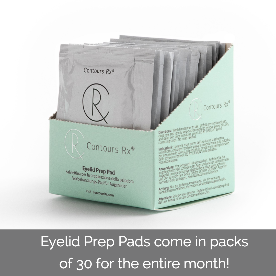 A pack of 30 ContorsRx Eyelid Prep Pads designed to capture dirt, oils and dead skin in its fabric, packed with vitamin B5 - Contours Rx®